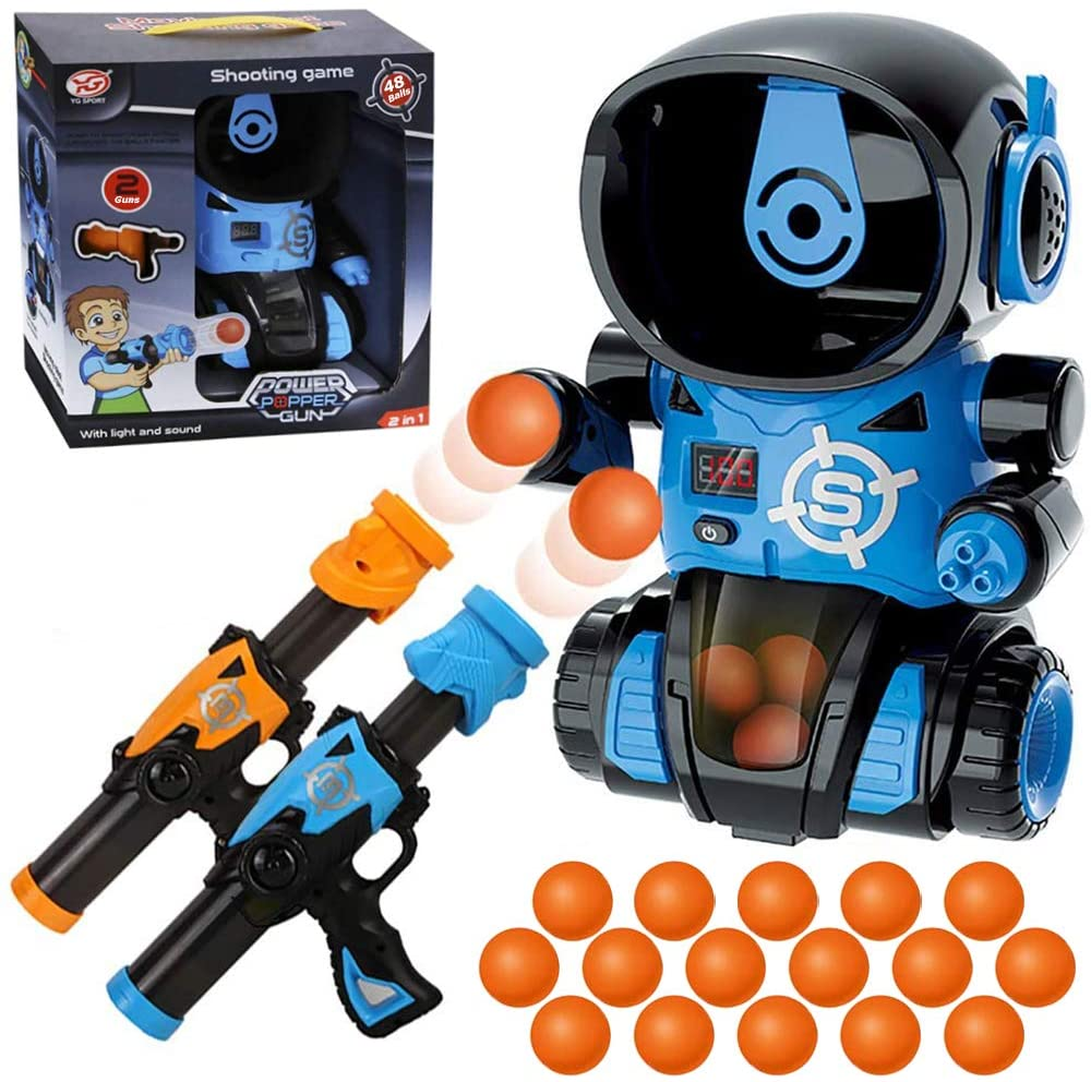 KoudHug Robot Shooting Toys for Kids, Target Shooting Games with 2 Air Pump Gun, 48 Soft Foam Balls, LCD Score Record, Light Sound, Party Toys Gift for Boys and Girls (Blue)