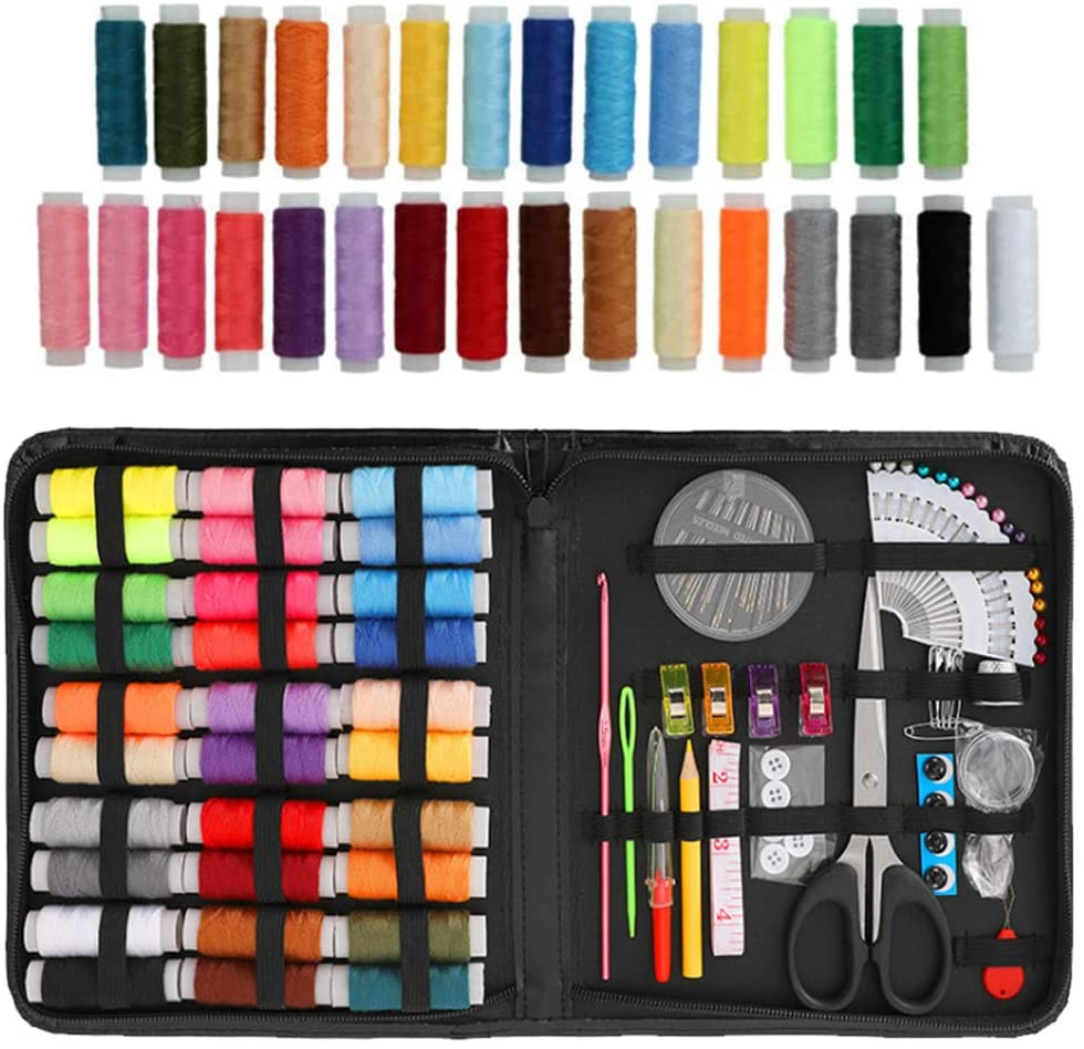 Sewing Kit, 105 PCS Sewing Supplies Kit,Suitable for Adults, Children, College Students, Beginners, DIY Sewing Supplies and Beedlework Accessories with Black Suitcase (Black)