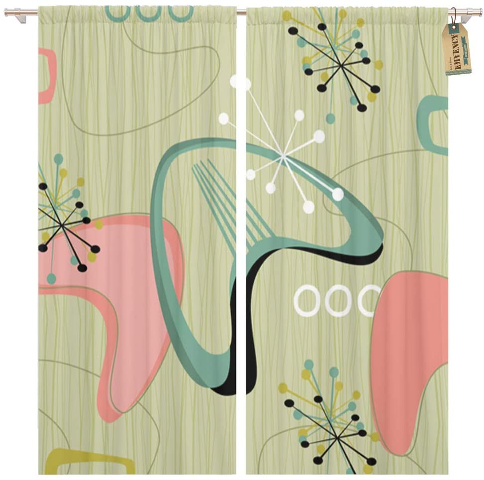Golee Window Curtain Retro Inspired Stars and Boomerangs Each Item is Grouped Home Decor Pocket Drapes 2 Panels Curtain 104 x 84 inches