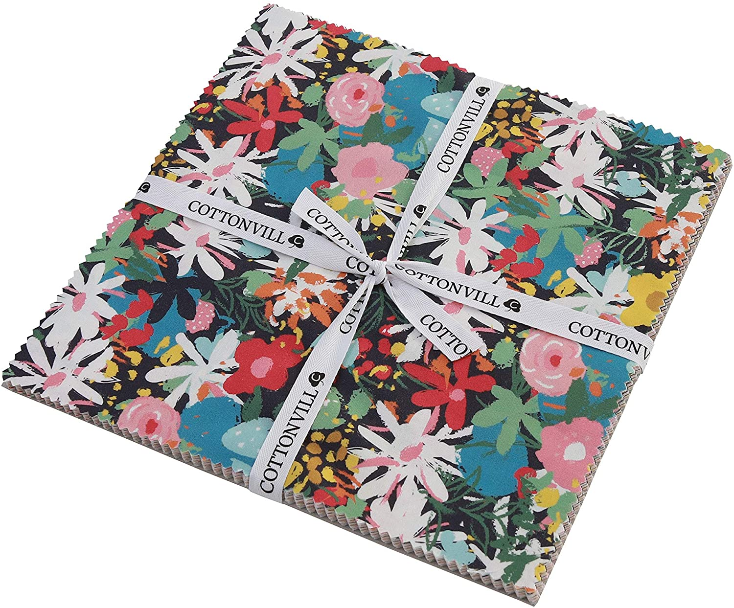 COTTONVILL Collection Bloom 20COUNT Cotton Print Quilting Fabric (Precuts, 10inch 24pc)