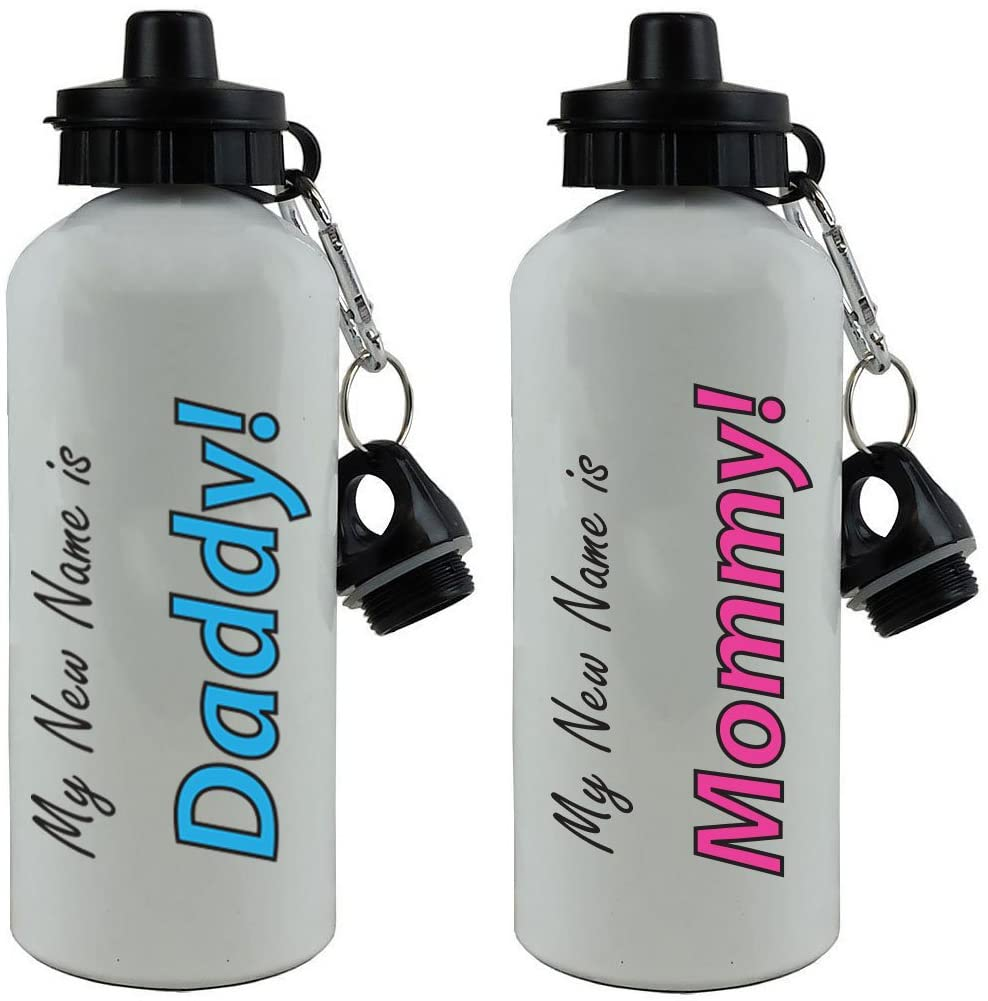 CustomGiftsNow My New Name is Daddy! and Mommy! 20-Ounce 600ML White Aluminum Water Bottles Set - Great Gift for Expecting Parents