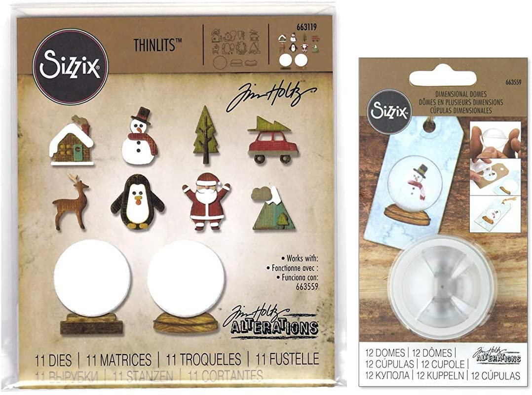 Tim Holtz Alterations Tiny Snowglobes Thinlit Dies and Dimensional Domes - 2 Item Bundle