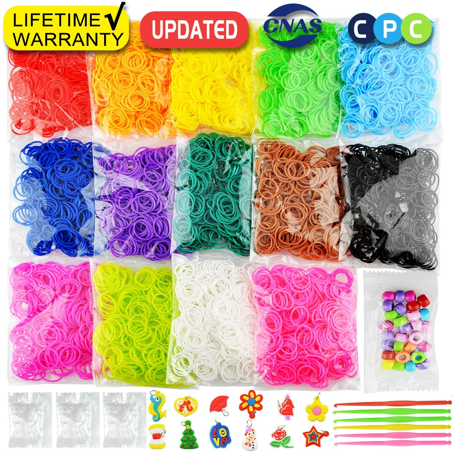 6900+ New Rainbow Rubber Bands Bracelet Kit, 2020 New Loom Bands in 14 Colors- Great Gift for Handicraft Lovers & Kids. No Loom Board Included.