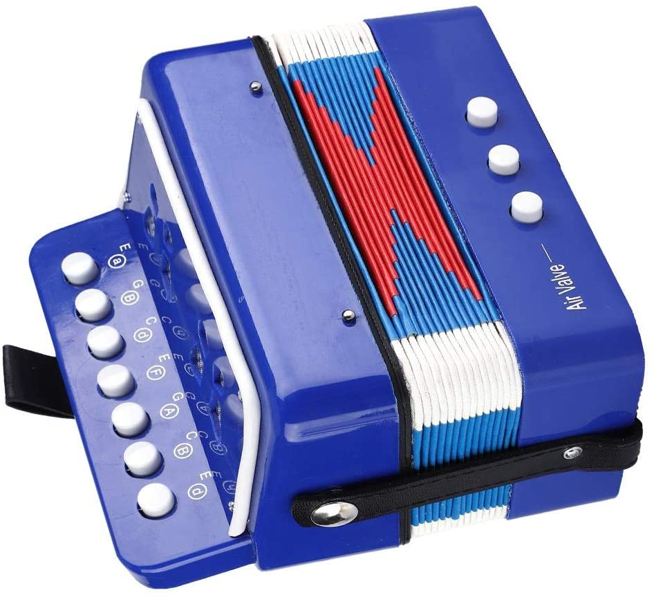 Blue Children Accordion, Eco-Friendly Safe Accordion Toy, ABS Durable for Young Hands Children Teenager Kids