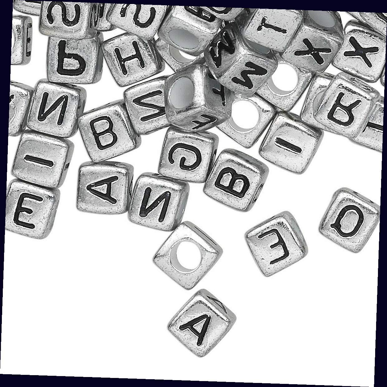 100 Silver Acrylic 4 Sided Alphabet 6x6mm Square Cube Beads for Jewelry Making Bracelets, Necklaces Supplies for DIY Crafts Beadwork