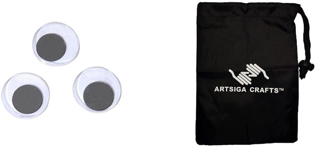 Darice DIY Crafts Supplies Wiggle Eyes Paste-On Movable Round Black Big Value 25mm 34 Piece (6 Pack) 5125 Bundle with 1 Artsiga Crafts Small Bag