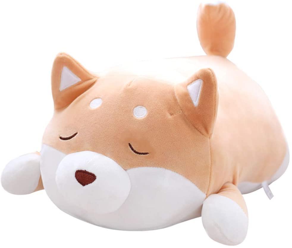 smtg Kawaii Corgi Dog Plush Toy Stuffed Soft Animal Corgi Chai Pillow Christmas Valentine Present for Kids Baby(13.8