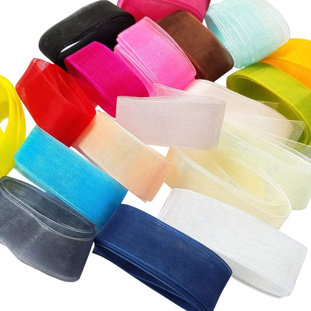 Chenkou Craft Solid Organza Ribbon Assorted 24 Yards Craft Bow Party Decoration Packing Ribbons (1