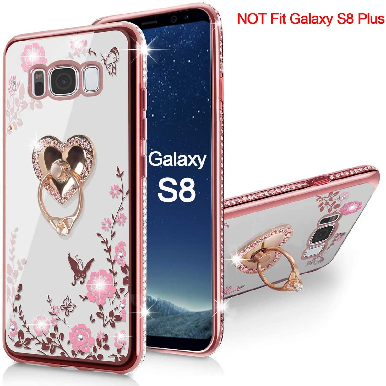 Samsung Galaxy S8 Case, Glitter Crystal Butterfly Heart Floral Cute for Girls Shiny Bling Soft TPU Silicone Protective Cover Clear Case with Ring Stand Holder for Samsung Galaxy S8 (Rose Gold)