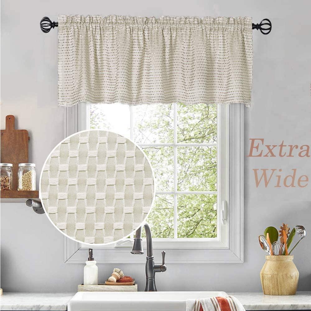 Amzdecor Khaki Kitchen Window Waffle Valance for Bath Room Extra Wide and Short Window Treatment GEO Lattice Design Rod Pocket Cafe Curtains,Extra Long 72