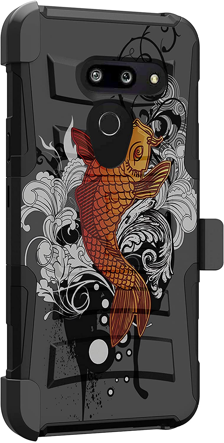 MINITURTLE Compatible with LG G8, LG G8 ThinQ Heavy Duty Rugged Protective Holster Belt Clip Case Cover [Clip Armor] - Koi Fish