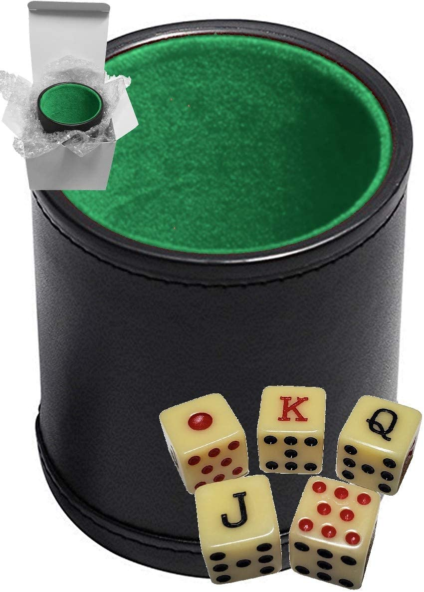 Set of 16mm Poker Dice Squared Corners and Black PU Leather Dice Cup Plush Velvet Lined - Gift Boxed