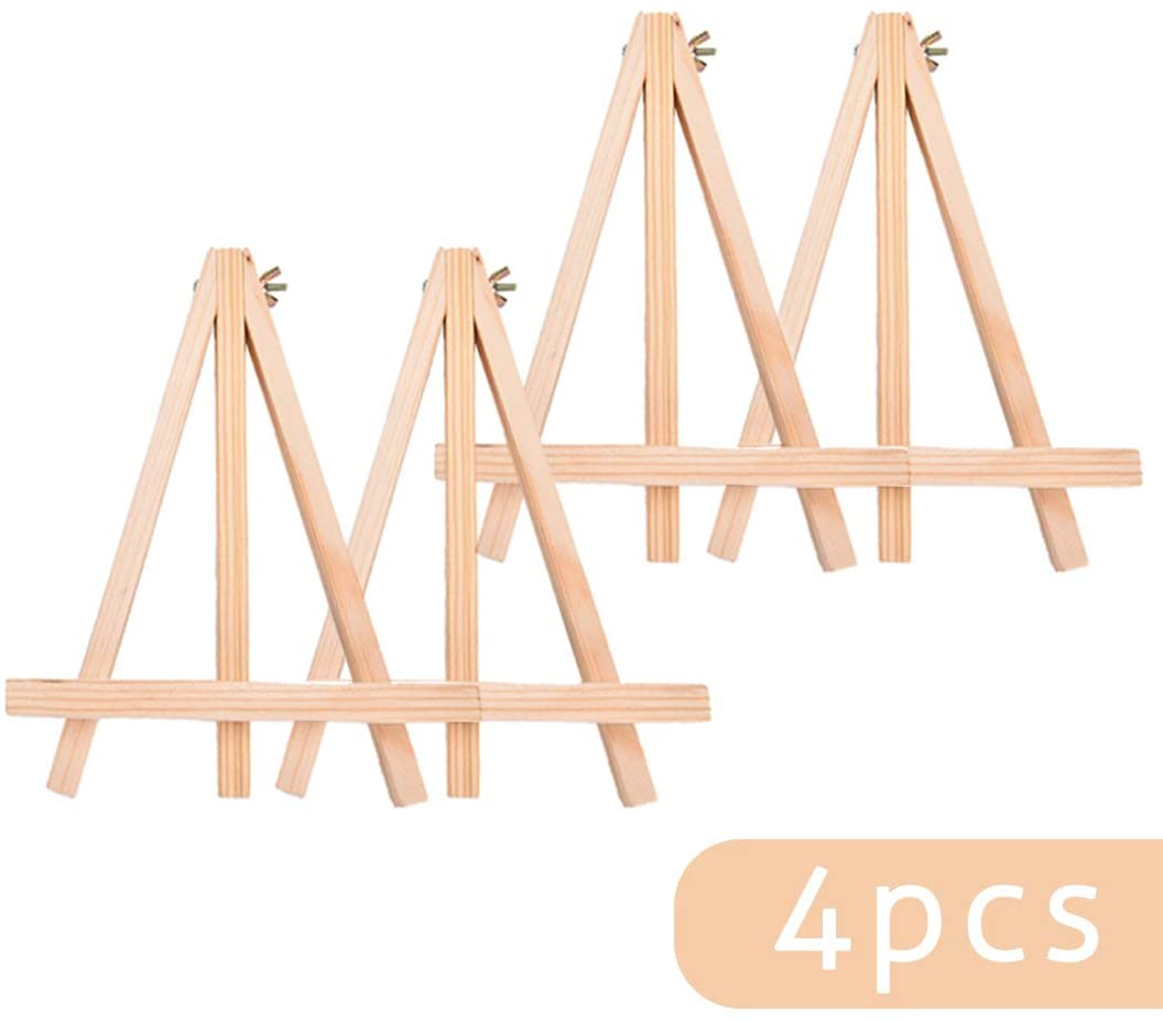 iSuperb 4 pcs Tripod Easel Stand Natural Pine Wood Painting Easels Portable Tripod Holder for Students Sketching Displaying Photos (24 x 18 cm)
