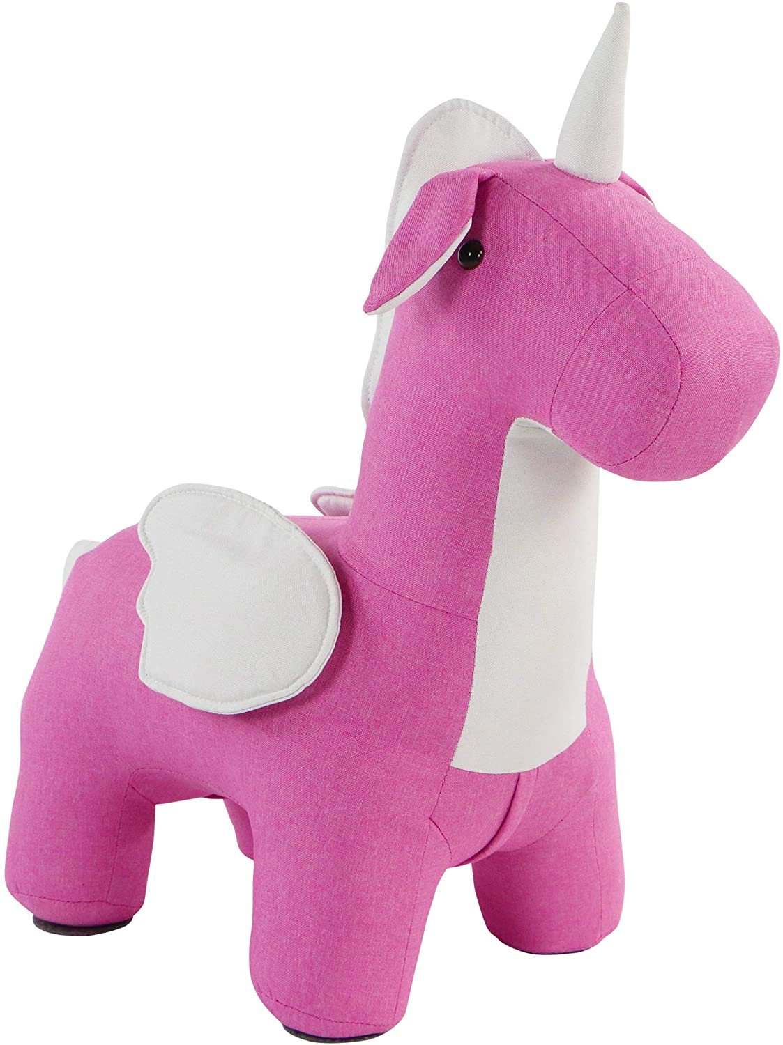 Critter Sitters Pink-White 13-in. Seat Height Flying Unicorn Animal Shape Ottoman