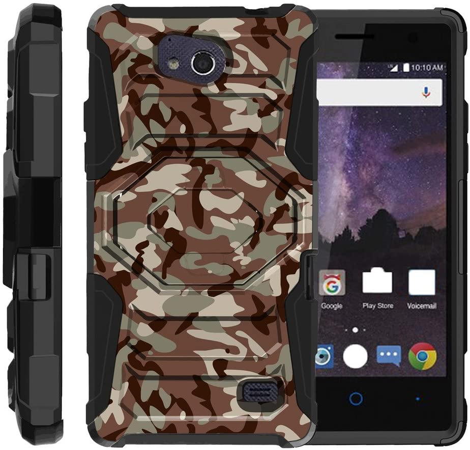 TurtleArmor | Compatible with ZTE Majesty Pro Plus Case | ZTE Majesty Pro Case [Octo Guard] Hard Reinforced Impact Hybrid Cover Belt Clip Holster Tough Kickstand - Army Camouflage