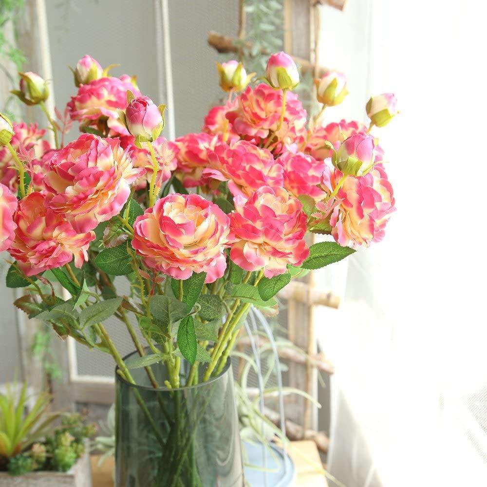 Lemoning Home Decor for Living Room, Artificial Fake Western Rose Flower Peony Bridal Bouquet Wedding Home Decor Hot