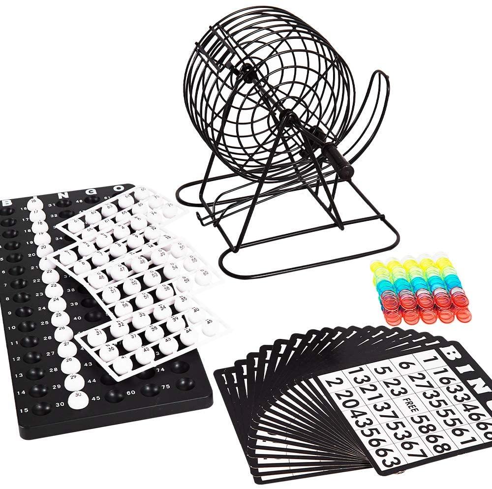LOCKYOUNG Games Deluxe Bingo Game Set with Bingo Cage, Bingo Board, Bingo Balls, 18 Bingo Cards, and Bingo Chips