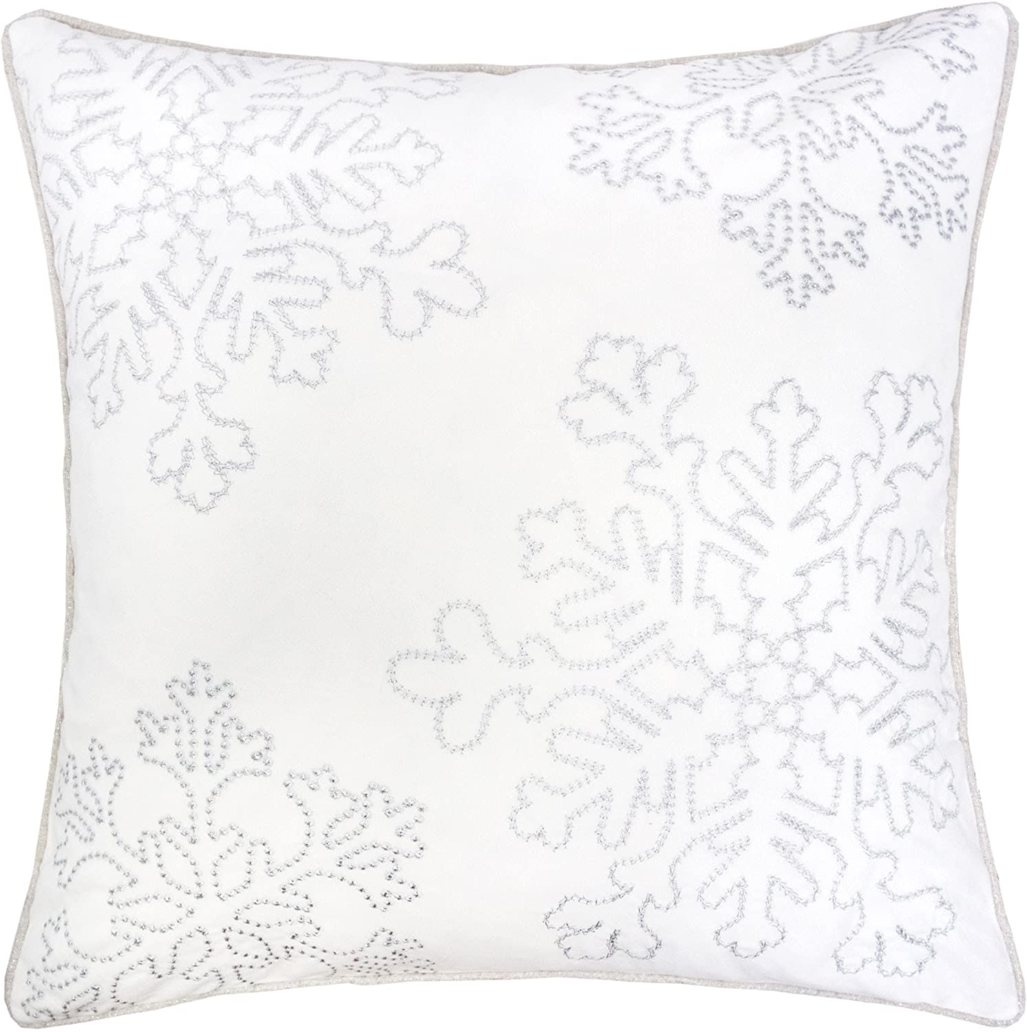 Homey COZY Embroidery White Velvet Throw Pillow Cover, Merry Christmas Series Snowflake Luxury Soft Fuzzy Cozy Warm Slik Gift Square Couch Cushion Pillow Case 20 x 20 Inch, Cover Only