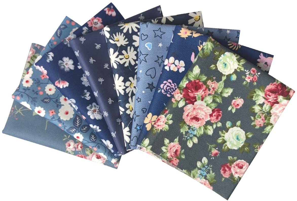 levylisa 8PCS 18 x 22 Fat Quarter Vintage Flower Printed Fabric Quilting Fabric Shirts Clothes Sewing Dark Blue Series Patchwork DIY Craft