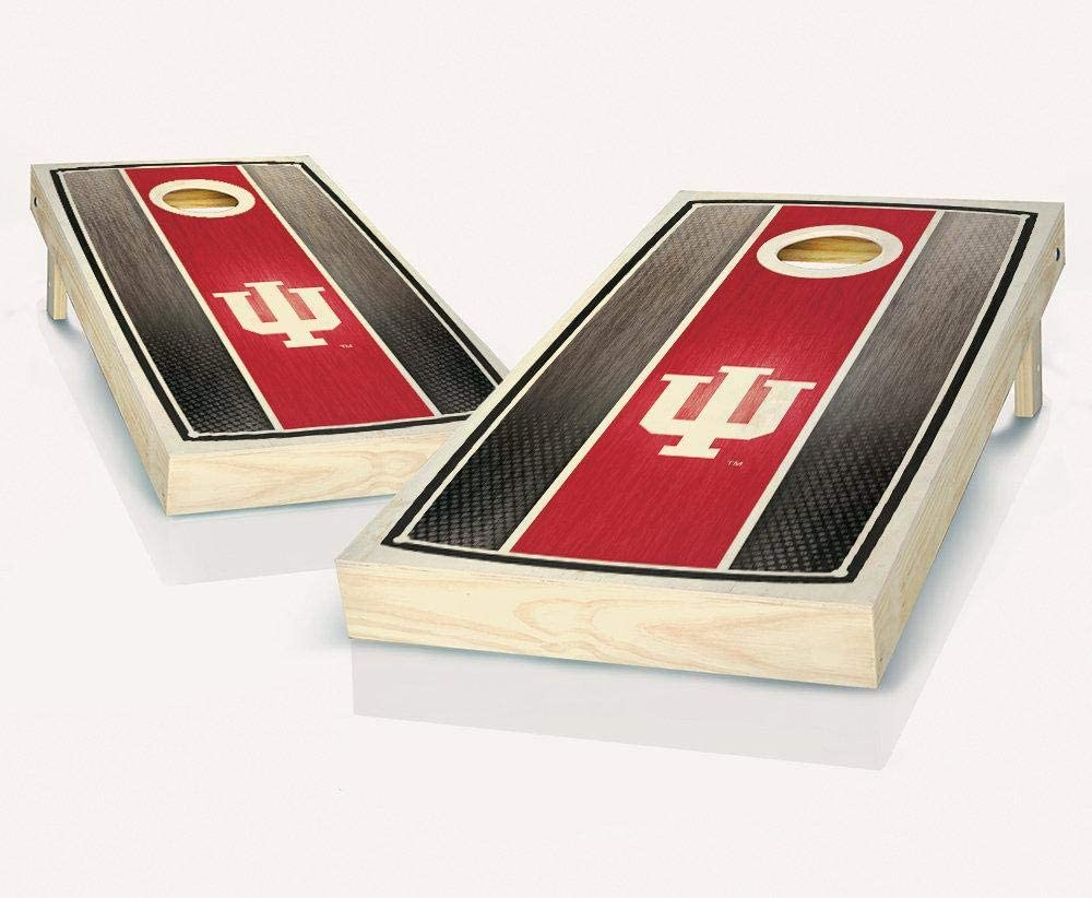 Tailgate Pro's Indiana Hoosier Stained Stripe Cornhole Boards, Choose Your Options - Includes 2 Boards and 8 Team Logo Bags