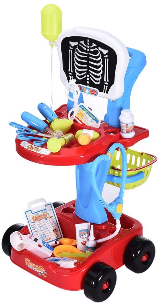 Jungaha Kids Doctor Playset 22Pcs Doctor Kit W/Electric Analog X-ray Screen and Stethoscope Set Pretend Play Medical Kit with Double Layer Cart Educational Toys Play for Kids 3+ Years (Red)