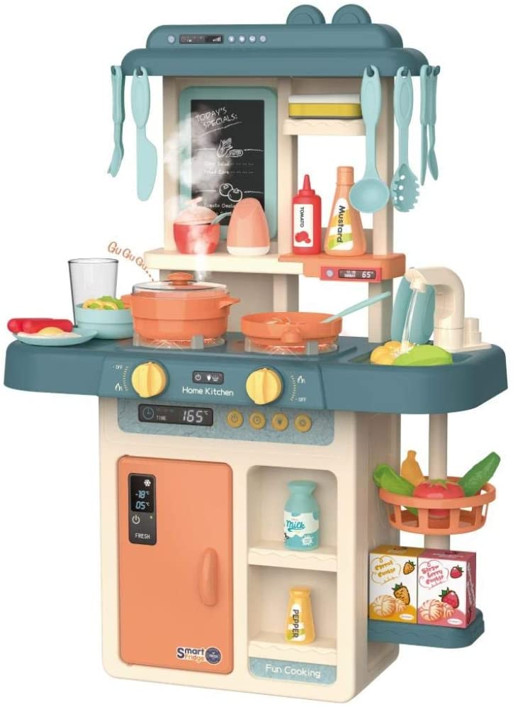 Lroplie Role Play Kids Kitchen Playset with Real Cooking and Water Boiling Sounds Kitchen Accessories Kit for Boys and Girls (Multicolour)