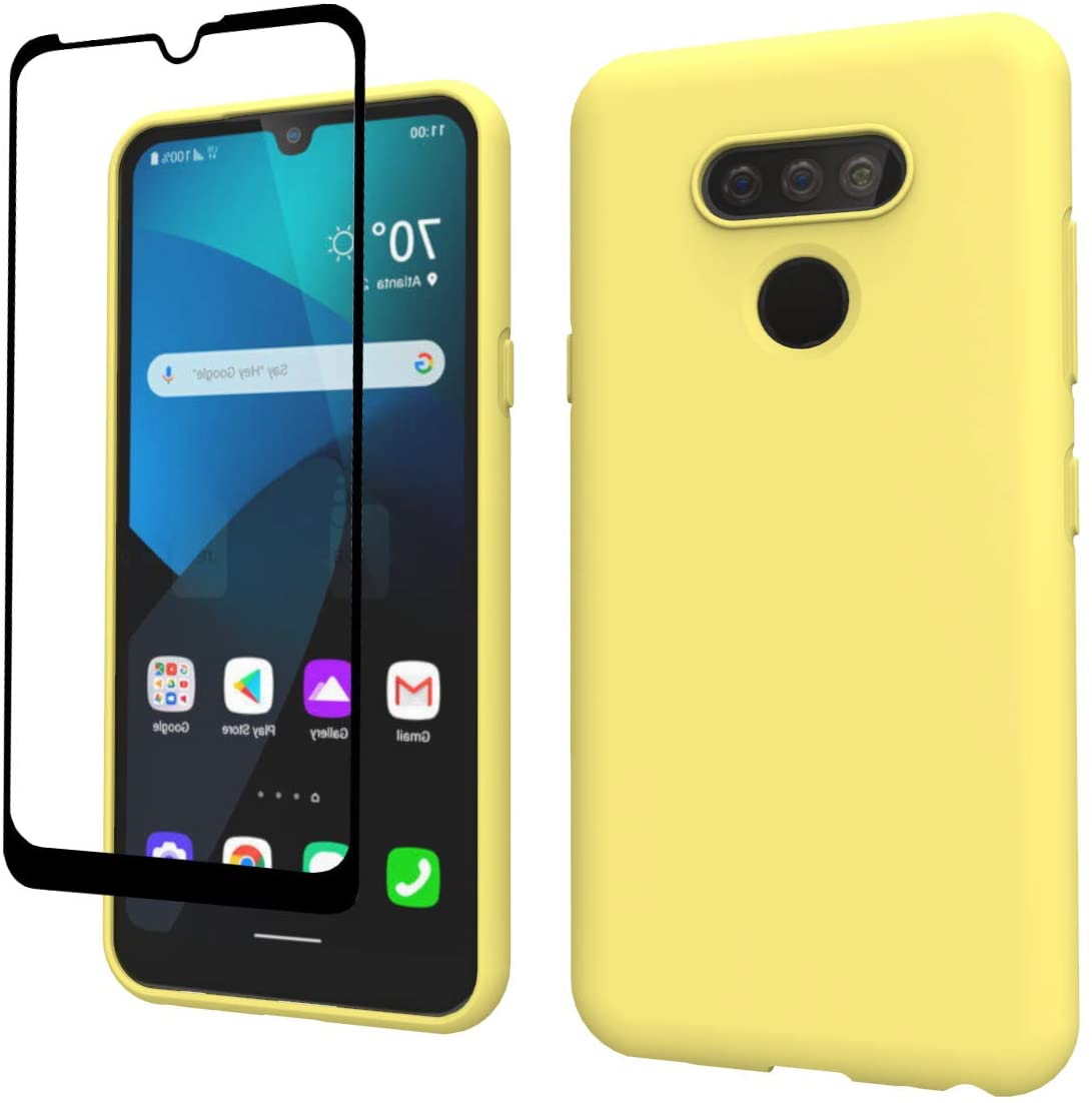 Weycolor LG Harmony 4 Case, LG Premier Pro Plus Case, LG K41 Case, with Tempered Glass Screen Protector [2 Pack], Liquid Silicone Slim Soft TPU Fit Drop Protection Phone Case (Yellow)