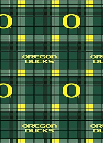 College Plaid University of Oregon Ducks Fleece Fabric Print by the Yard