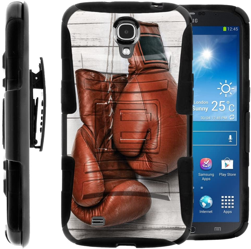 Compatible with Samsung Galaxy Mega Case   Mega 6.3 Case [Hyper Shock] Resistant Hybrid Case Belt Clip Hard Shell Stand Rubber Sports and Games by TurtleArmor - Boxing Gloves