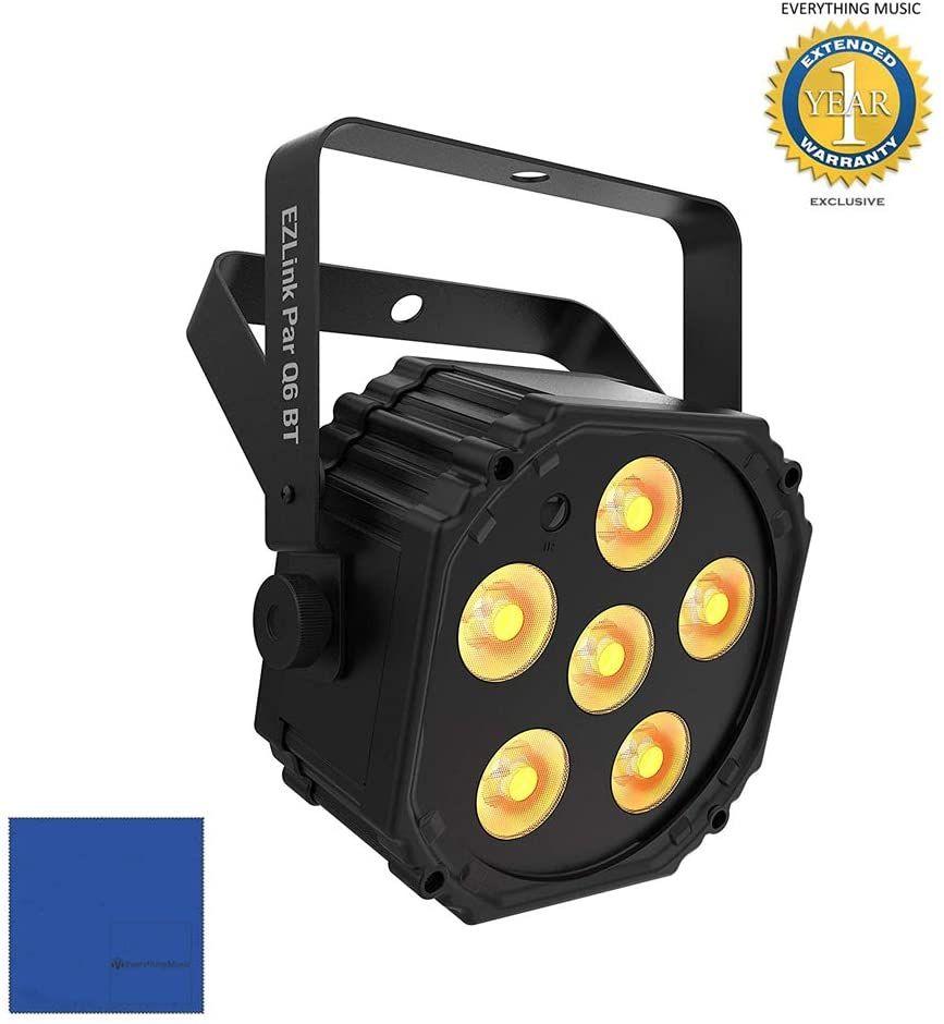 CHAUVET DJ EZlink Par Q6 BT True Wireless RGBA LED Par with Microfiber and 1 Year Everything Music Extended Warranty