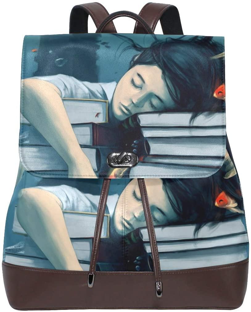 Leather Book Fish Girl Backpack Purse for Women Girls School Bookbag Travel Shoulder Bag