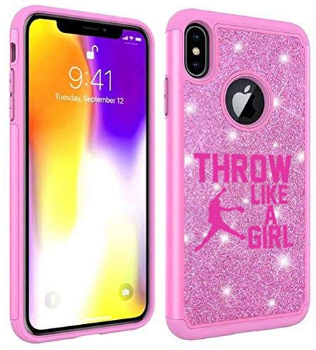 Glitter Bling Sparkle Shockproof Protective Hard Soft Case Cover for Apple iPhone Throw Like A Girl Softball (Pink, for Apple iPhone Xs Max)