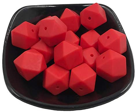 50pcs Silicone Polyhedron Beads BPA Free Hexagon Beads 14mm Food Grade Silicone Teether DIY Baby Teething Beads Necklace Toys(Scarlet Red)