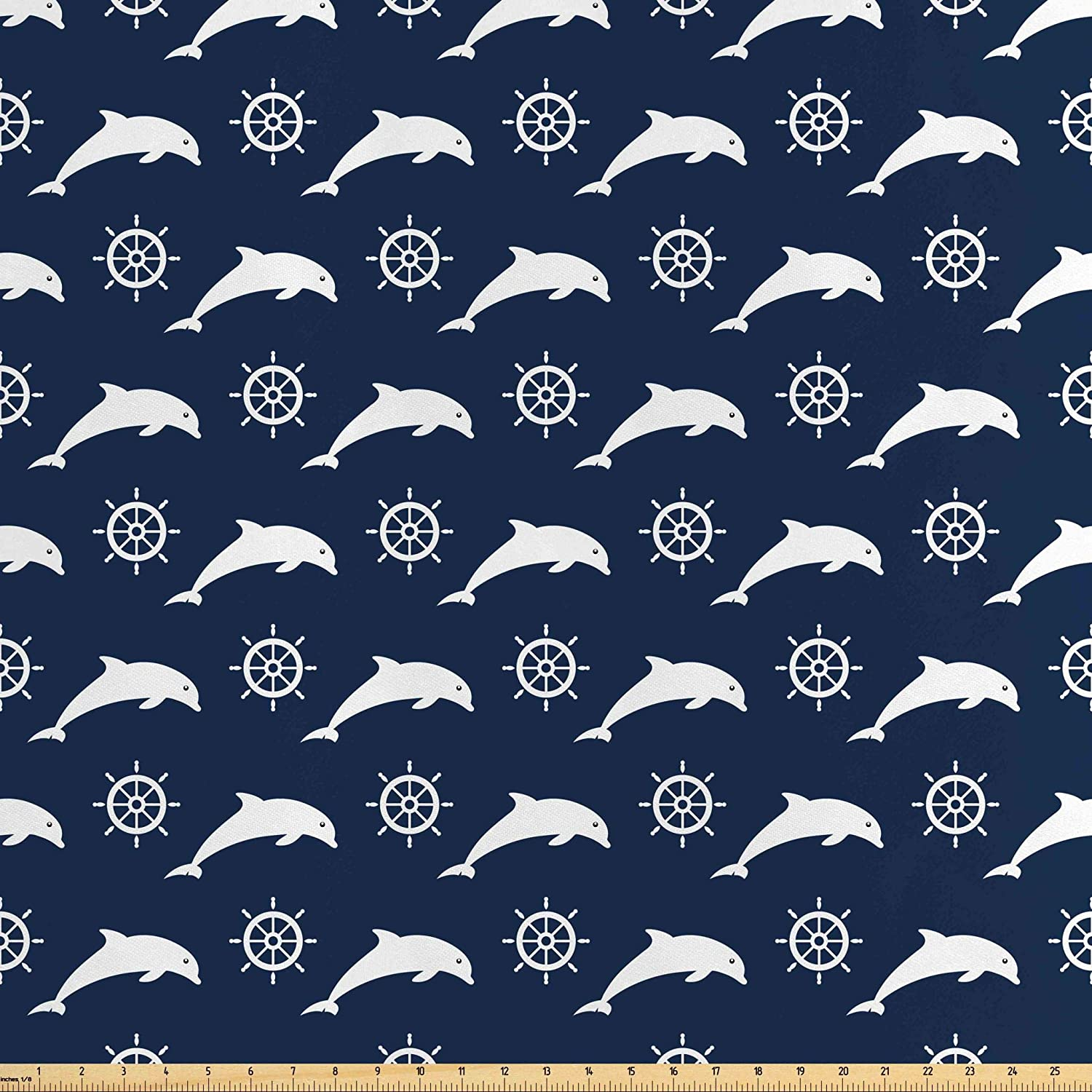 Lunarable Dolphin Fabric by The Yard, Maritime Pattern with Silhouettes of Dolphins and Steering Wheels in White Color, Decorative Satin Fabric for Home Textiles and Crafts, 10 Yards, Night Blue
