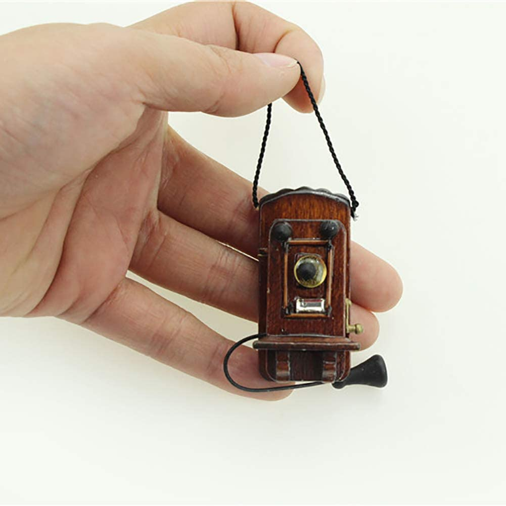 NarutoSak Doll House Accessories, Mini Vintage Wooden Wall Hanging Telephone Toy Miniature Doll House Accessories, Doll House Furnishings, Christmas Birthday Gift for Girl Ebony