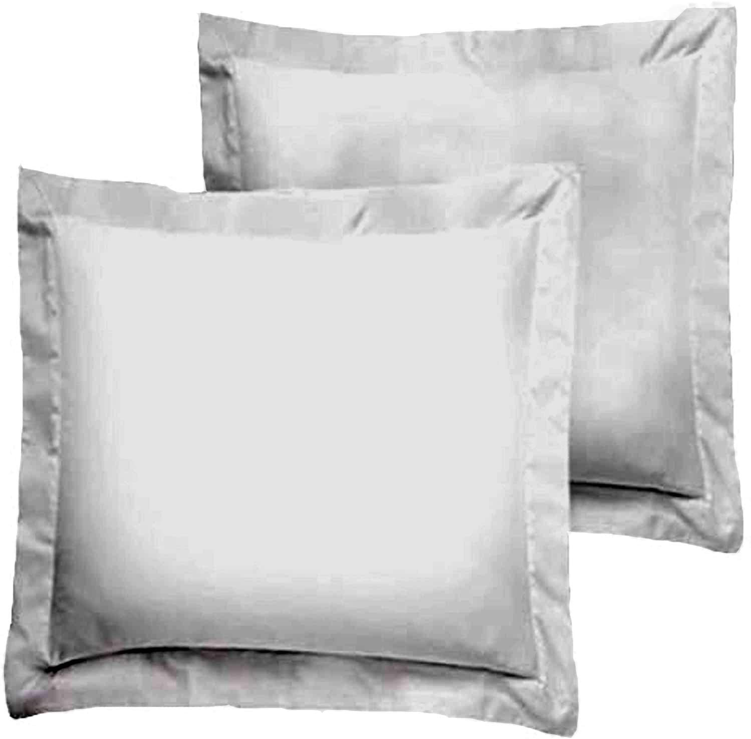 Trust Layer 800 Thread Count 100% Organic Cotton Throw Pillow Sized 18 x 18 inch Pillow Shams Set of 2 Silver Grey Solid