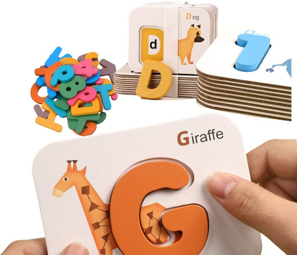 Tovol Zerky Flash Cards Alphabets Numbers Set Wooden Letters Puzzle Matching Game Blocks Learning Activities for Preschool Kids at 3-6 Years Old