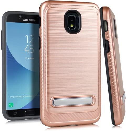 Kaleidio Case Compatible for Samsung Galaxy J3 Eclipse 2, J3 Orbit, J3 Aura, Sol 3, J3 Prime 2 [Vector Armor] Slim TPU [Shockproof] Brushed Metallic Kickstand Carbon Fiber Cover [Rose Gold/Black]
