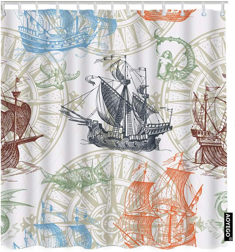 AOYEGO Nautical Shower Curtain Set Vintage Ocean Sailboats Compass Sea Wave Mermaid Starfish Seahorse Shower Curtain 72x72 Inch Decorative Waterproof Polyester Fabric with Hooks