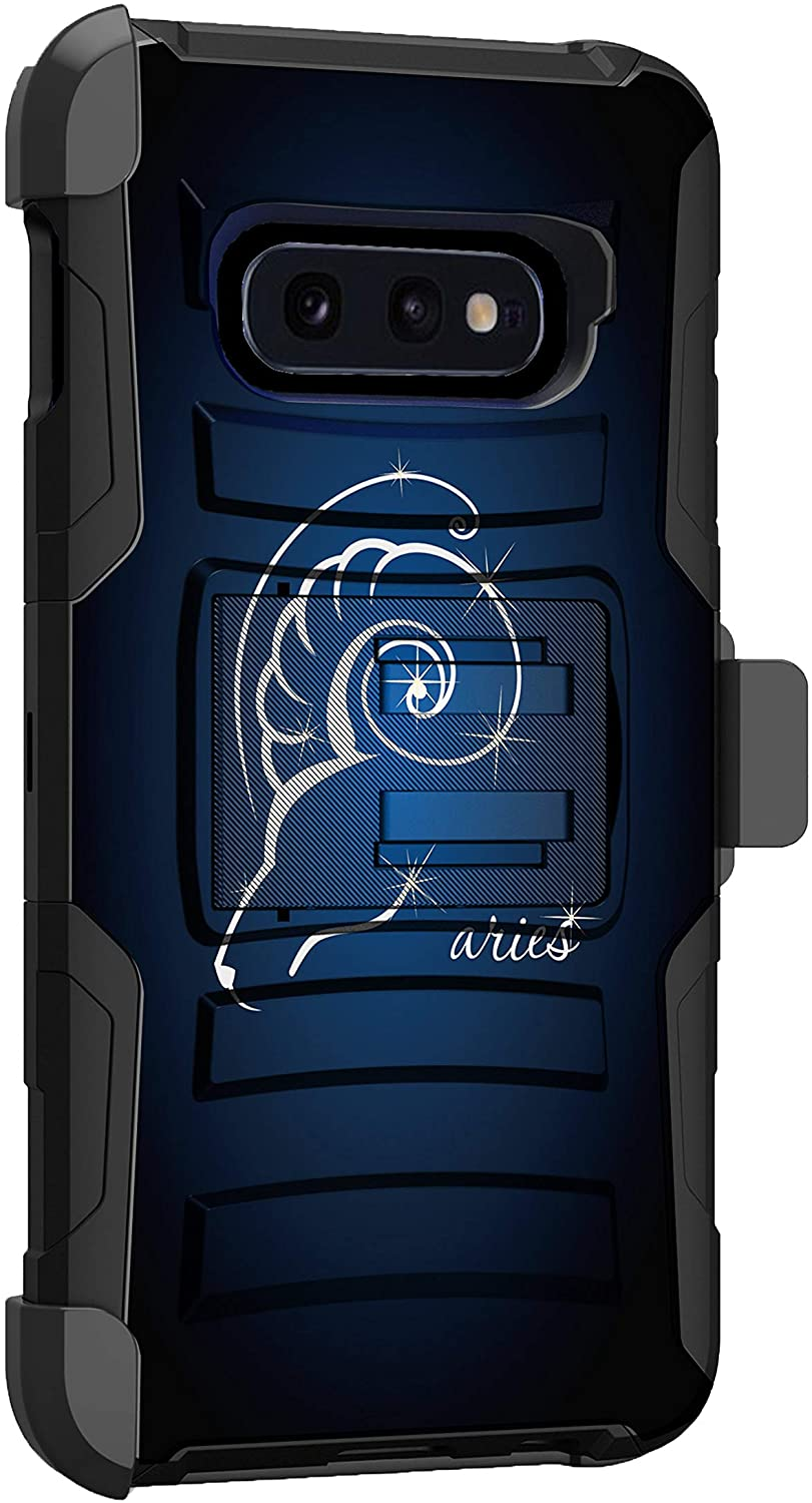 MINITURTLE Compatible with Samsung Galaxy S10e Armor Shockproof Dual Layer Holster Clip Kickstand Case Cover [Clip Armor] - Aries