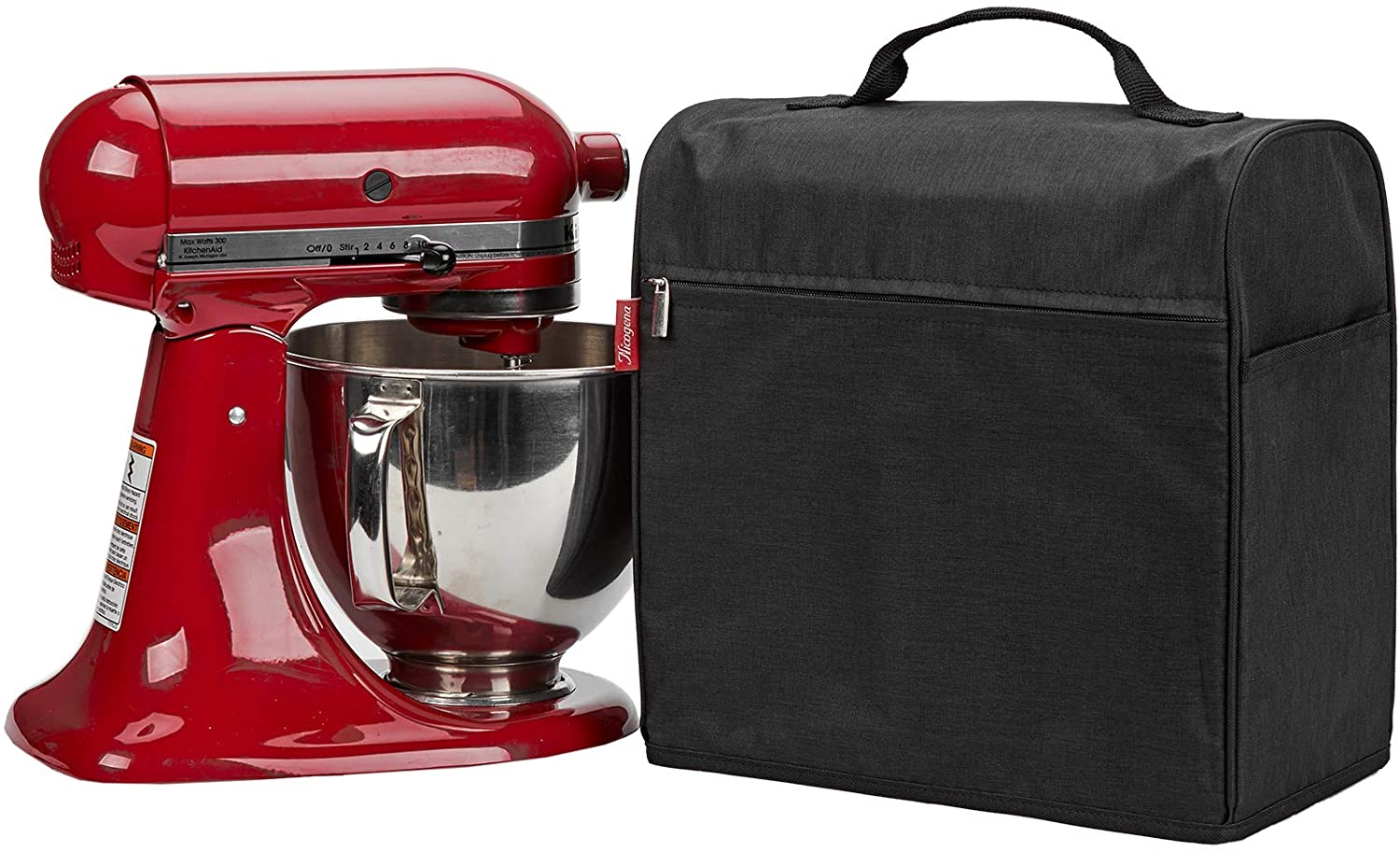 NICOGENA Stand Mixer Cover Compatible with KitchenAid Tilt Head 4.5-5 Quart, Dust Cover with Zipper Pocket for Accessories, Black