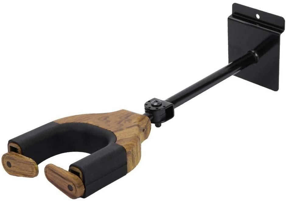 Rockyin Guitar Wall Mount Hook Adjustable Wall Hanger Holder for Violin Bass Ukulele (Rosewood)