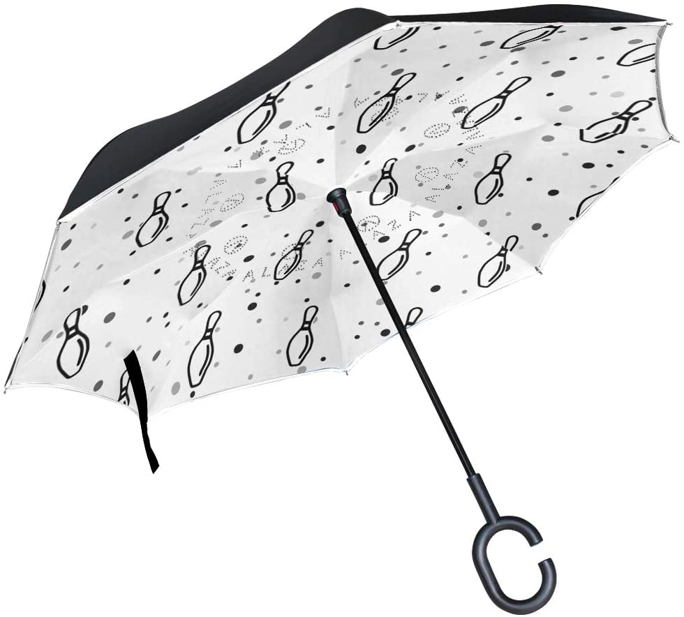 DKRetro Double Layer Bowling Pin Inverted Umbrellas- Reverse Folding Umbrella for Car, C-Shaped Handle Umbrella with Light Reflection Strip