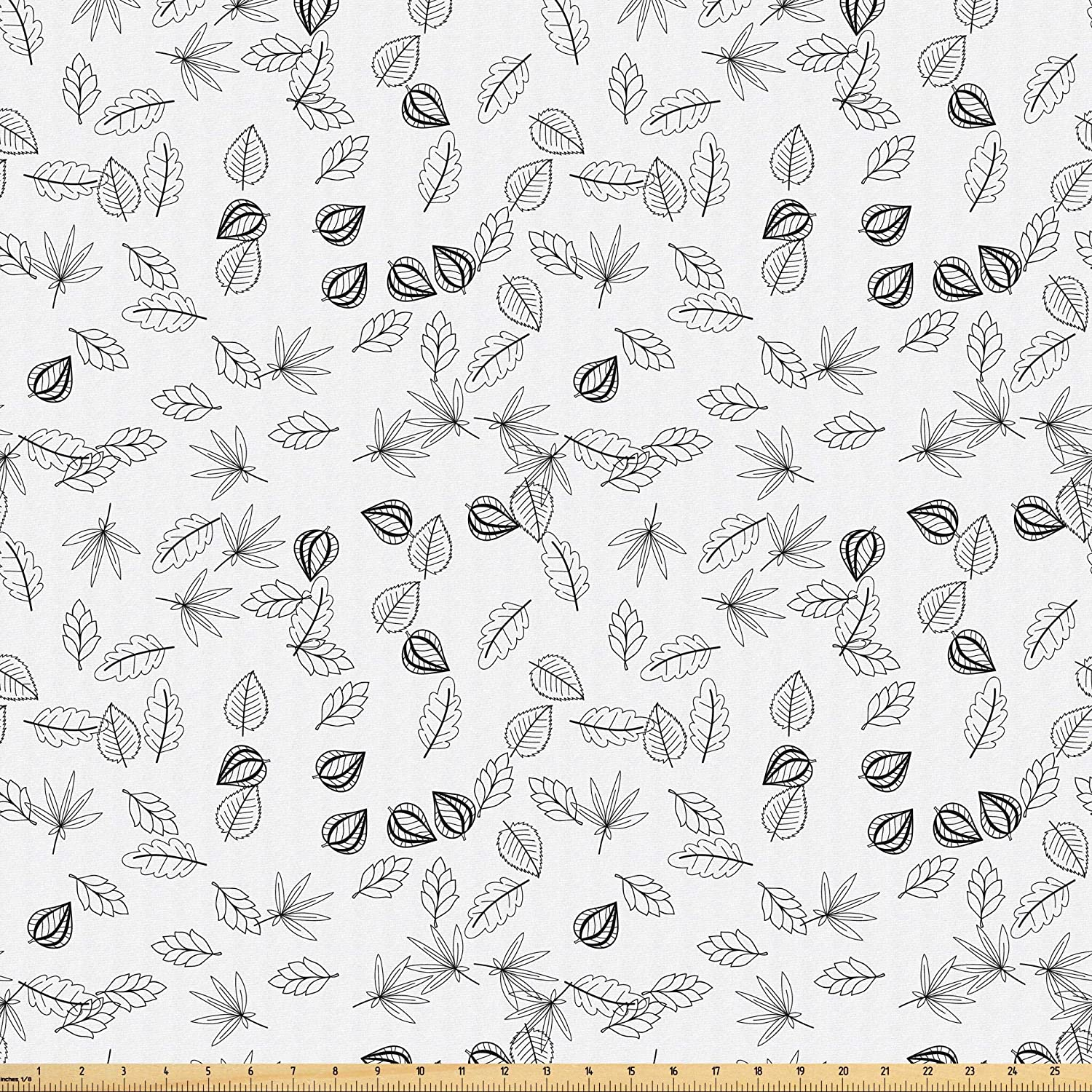 Lunarable Leaves Fabric by The Yard, Monochrome Foliage Pattern in Doodle Style an Assortment of Different Designs, Microfiber Fabric for Arts and Crafts Textiles & Decor, 5 Yards, Black and White