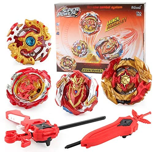 High Performance Burst God Bey Battle 4 in 1 Red Edition Battling Top Gyro Avatar Attack Evolution with Launcher and Grip Upgraded