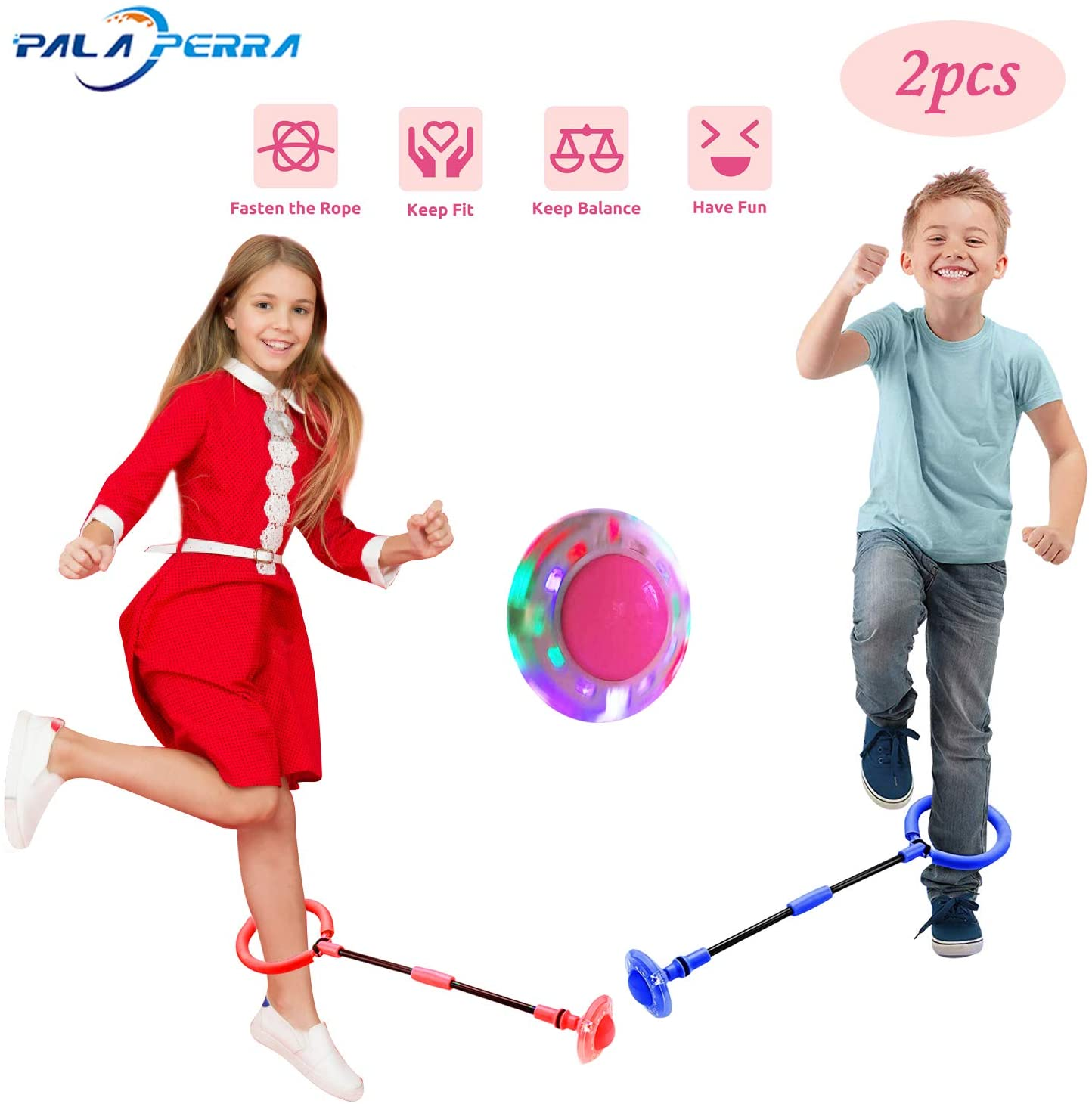 PALA PERRA Ankle Skip Ball for Kids, Colorful Light Flashing Jumping Ring, Foldable Skipit Toy Swing Ball Fitness Sports for Boys and Girls (Two Colors)
