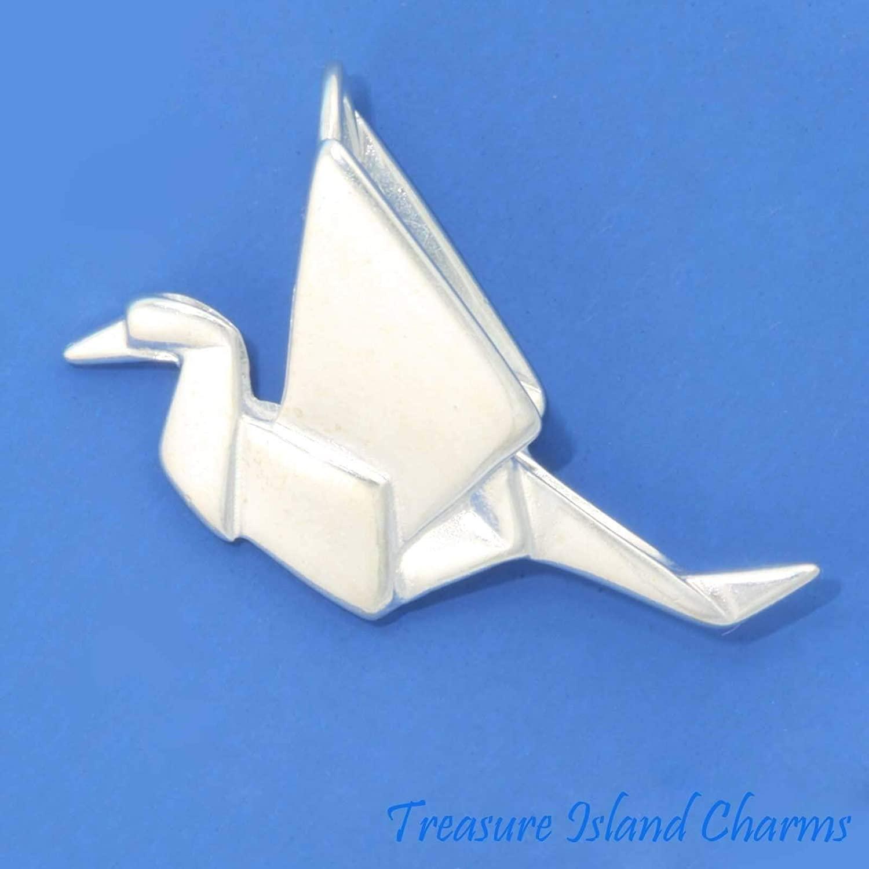 Charm Pendant Jewelry Making DIY Bracelet Japanese Origami Paper Crane 3D 925 Sterling Silver