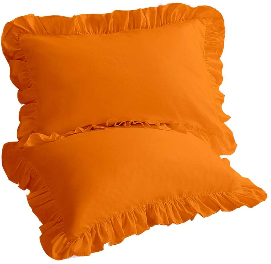 Natura Pura Premium 1000 Thread Count, Edge Ruffle Pillow Sham with 2 inch Decorative Flange, 100% Egyptian Cotton (Queen Sized 20 by 30 inch) Orange, Set of 2