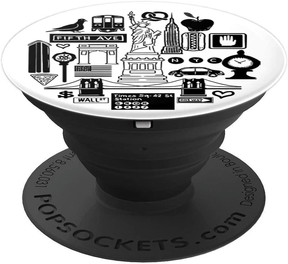 New York City Symbolic Icons Minimal Retro traveler Gift PopSockets Grip and Stand for Phones and Tablets