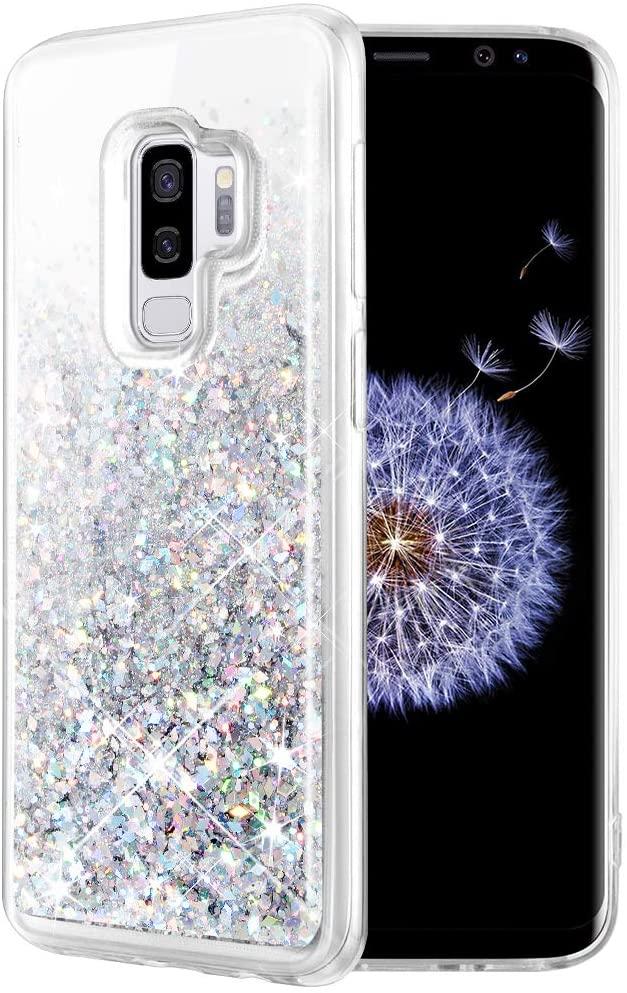 Caka Galaxy S9 Plus Case, Galaxy S9 Plus Glitter Case Liquid Series Luxury Fashion Bling Flowing Liquid Floating Sparkle Glitter Soft TPU Case for Samsung Galaxy S9 Plus (Silver)
